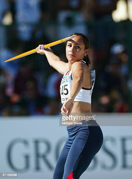 Jessica Ennis of Great Britain throws the Javelin during the Women's Heptathlon competition at the IAAF World Juniors Championships at the Olimpico...
