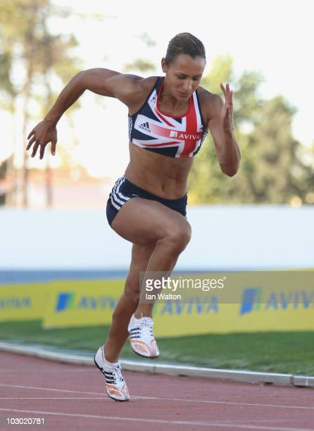 Jessica Ennis of Great Britain trains during the Aviva funded GB & NI Team Preparation Camp on July 21, 2010 in Monte Gordo, Portugal.