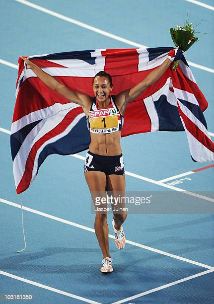 Jessica Ennis of Great Britain wins the gold medal in the Womens Heptathlon during day five of the 20th European Athletics Championships at the...