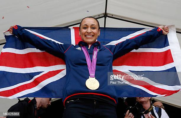 Jessica Ennis poses for a photograph during her homecoming celebration following her gold medal achievements at the London 2012 Olympic games at...
