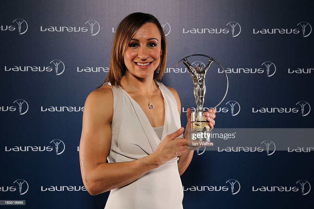 Jessica Ennis poses with the award for Laureus World Sportswomen of the Year in the winners studio during the 2013 Laureus World Sports Awards at Theatro Municipal do Rio de Janeiro on March 11, 2013 in Rio de Janeiro, Brazil.