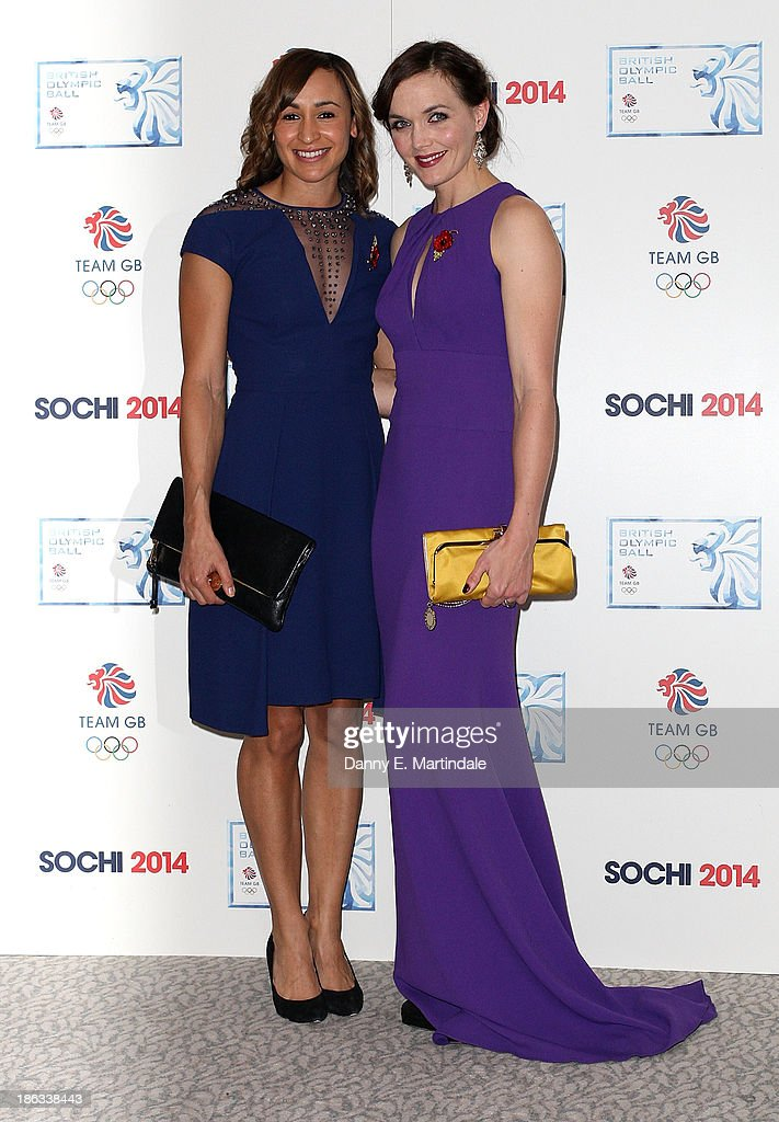 Jessica Ennis-Hill and Victoria Pendleton attend the British Olympic Ball at The Dorchester on October 30, 2013 in London, England.