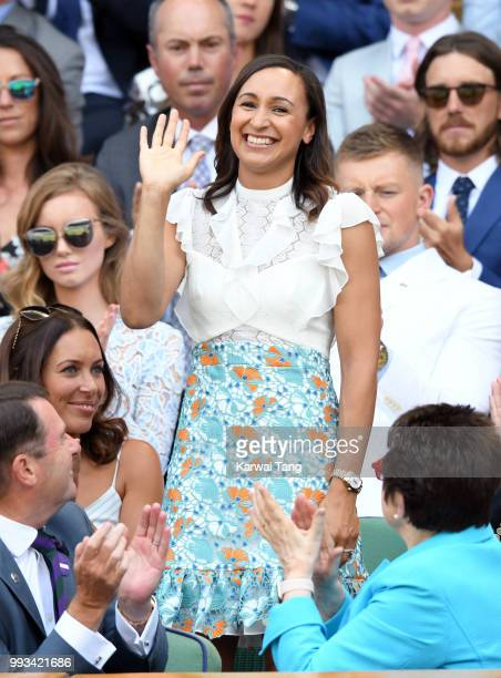 Jessica EnnisHill attends day six of the Wimbledon Tennis Championships at the All England Lawn Tennis and Croquet Club on July 7 2018 in London...