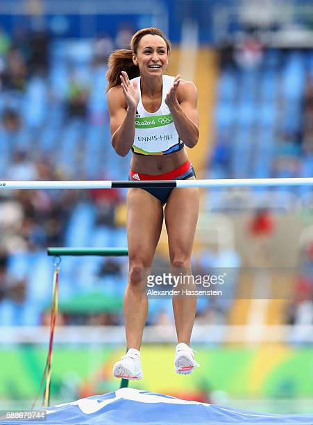 Jessica EnnisHill of Great Britain celebrates a successful attempt during the Women's Heptathlon High Jump on Day 7 of the Rio 2016 Olympic Games at...