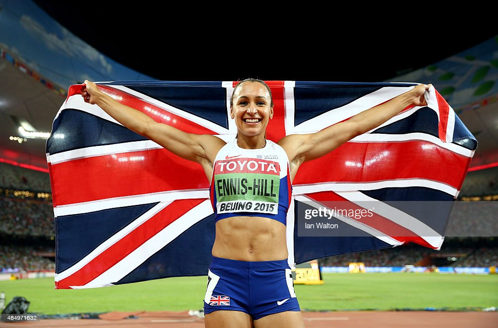 Jessica Ennis-Hill of Great Britain celebrates after winning the Women's Heptathlon 800 metres and the overall Heptathlon gold during day two of the 15th IAAF World Athletics Championships Beijing 2015 at Beijing National Stadium on August 23, 2015 in Beijing, China.