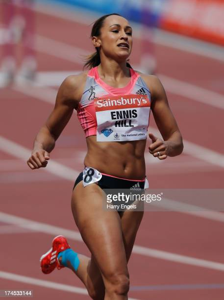 Jessica EnnisHill of Great Britain competes in the Women's 100m Hurdles during day two of the Sainsbury's Anniversary Games IAAF Diamond League 2013...