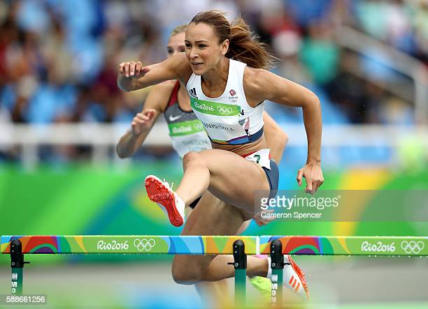 Jessica EnnisHill of Great Britain competes in the Women's Heptathlon 100 Meter Hurdles on Day 7 of the Rio 2016 Olympic Games at the Olympic Stadium...