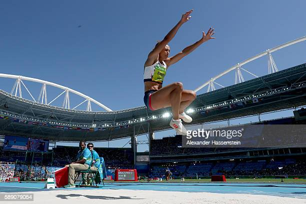 Jessica EnnisHill of Great Britain competes in the Women's Heptathlon Long Jump on Day 8 of the Rio 2016 Olympic Games at the Olympic Stadium on...