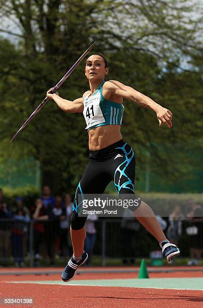 Jessica EnnisHill of Great Britain competes in the womens javelin event during the Loughborough International Athletics meeting at Loughborough...
