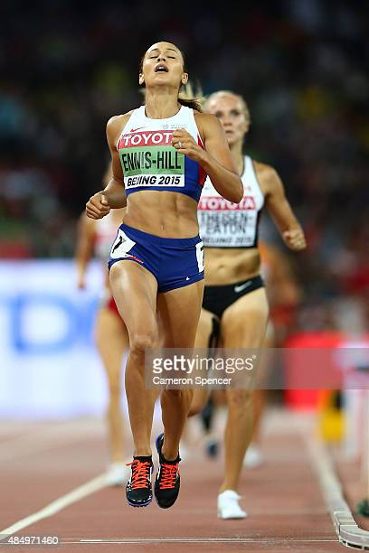 Jessica Ennis-Hill of Great Britain crosses the finish line to win the the Women's Heptathlon 800 metres and the overall Heptathlon gold during day...