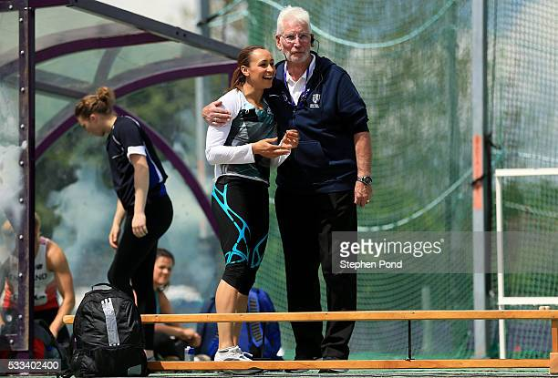 Jessica EnnisHill of Great Britain greets an official as she competes in the womens javelin event during the Loughborough International Athletics...