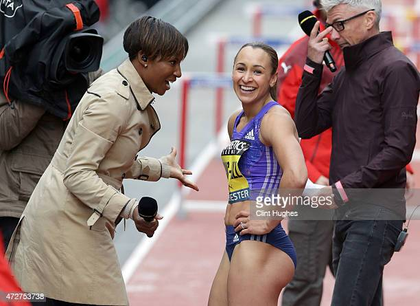 Jessica EnnisHill of Great Britain is interviewd for television by Denise Lewis after competing in the Women's 100 metres hurdles during the Great...