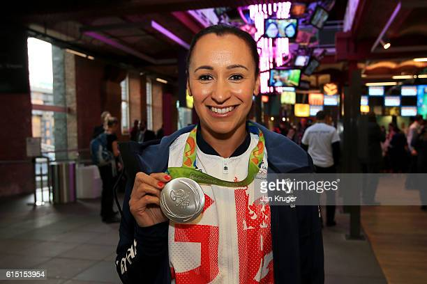 Jessica EnnisHill of Great Britain poses with her medal before a Rio 2016 Victory Parade for the British Olympic and Paralympic teams on October 17...