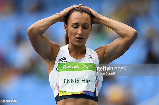 Jessica EnnisHill of Great Britain reacts during the Women's Heptathlon High Jump on Day 7 of the Rio 2016 Olympic Games at the Olympic Stadium on...