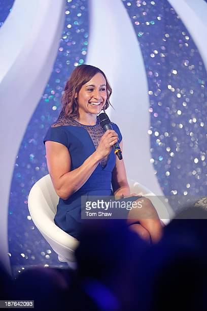 Jessica EnnisHill of Great Britain talks on stage during the British Olympic Ball at The Dorchester on October 30 2013 in London England