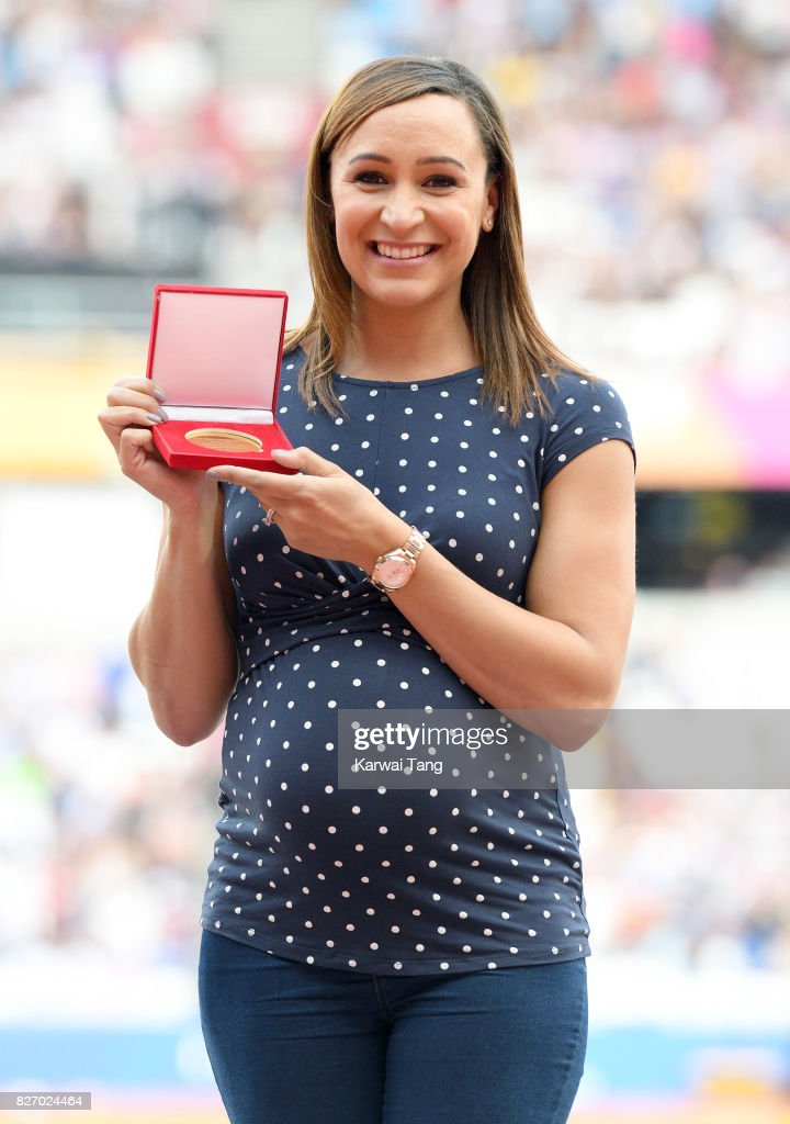 Jessica Ennis-Hill poses with her gold medal from the Heptathlon in Daegu 2011 World Championships, during day three of the IAAF World Athletics Championships at the London Stadium on August 6, 2017 in London, United Kingdom.