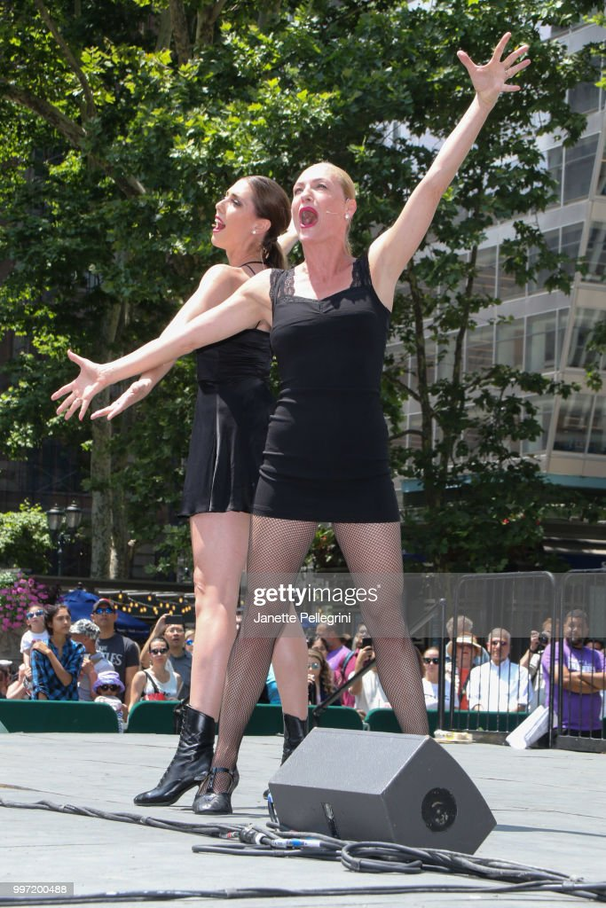Jessica Ernest and Terra C. MacLeod from the cast of 'Chicago' perform at 106.7 LITE FM's Broadway In Bryant Park at Bryant Park on July 12, 2018 in New York City.
