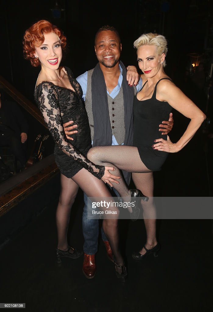 Jessica Ernest as 'Roxie Hart', Cuba Gooding Jr (who will be joining the London production of 'Chicago' as 'Billy Flynn' on March 26th) and Amra-Faye Wright as 'Velma Kelly' pose backstage at the hit musical 'Chicago' on Broadway at The Ambassador Theater on February 20, 2018 in New York City.