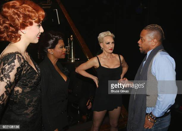 Jessica Ernest as Roxie Hart Kandi Burruss as Matron Mama Morton AmraFaye Wright as Velma Kelly and Cuba Gooding Jr chat backstage at the hit musical...