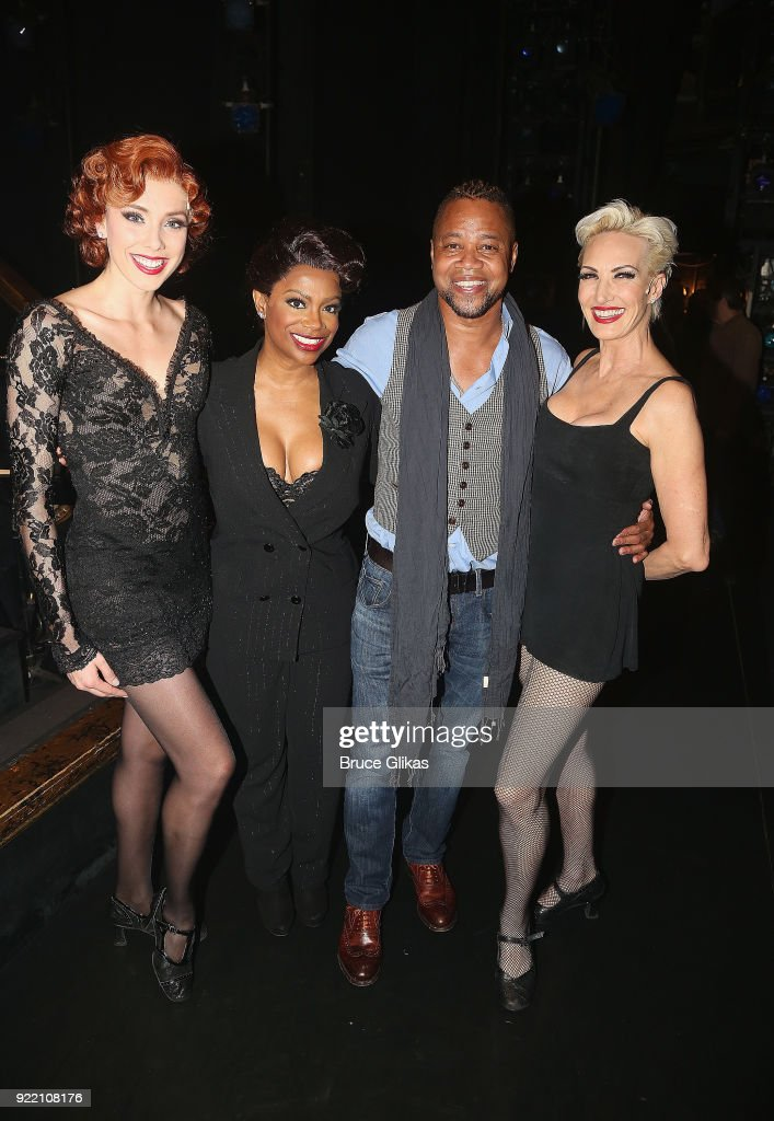 Jessica Ernest as 'Roxie Hart', Kandi Burruss as 'Matron Mama Morton', Cuba Gooding Jr (who will be joining the London production of 'Chicago' as 'Billy Flynn' on March 26th) and Amra-Faye Wright as 'Velma Kelly' pose backstage at the hit musical 'Chicago' on Broadway at The Ambassador Theater on February 20, 2018 in New York City.