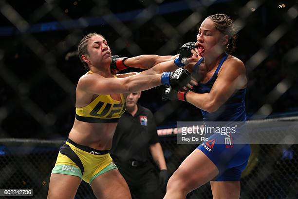 Jessica Eye exchanges punches Bethe Correia during the UFC 203 event at Quicken Loans Arena on September 10 2016 in Cleveland Ohio
