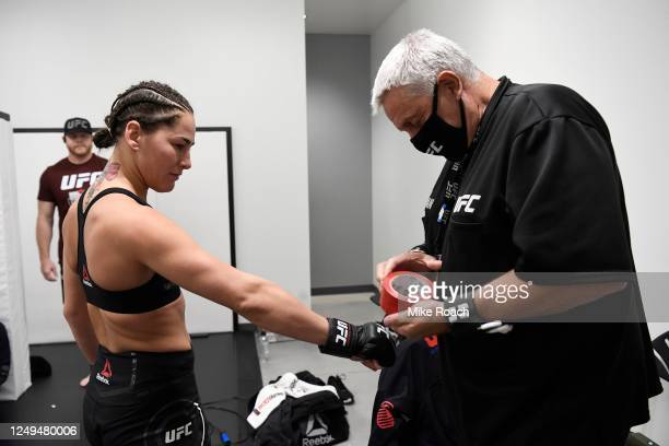 Jessica Eye gets her hands wrapped backstage during the UFC Fight Night event at UFC APEX on June 13, 2020 in Las Vegas, Nevada.