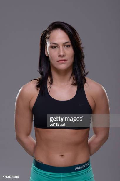 Jessica Eye poses for a portrait during a UFC photo session on February 20 2014 in Las Vegas Nevada