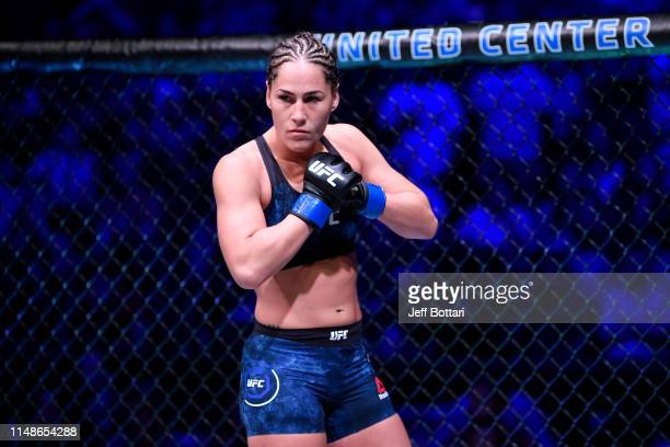 Jessica Eye stands in her corner prior to her women's flyweight championship bout against Valentina Shevchenko of Kyrgyzstan during the UFC 238 event...