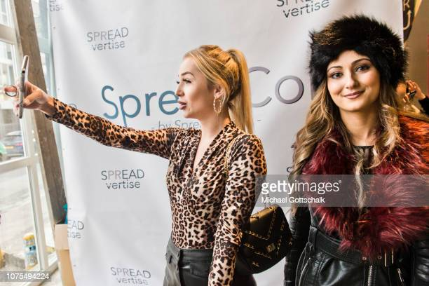 Jessica Fiorini and Tracy Candela of Love Island Girls attend the SpreadCon by Spreadvertise on December 01, 2018 in Cologne, Germany.