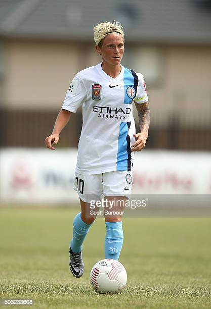 Jessica Fishlock of City FC contols the ball during the round 12 WLeague match between Melbourne City FC and the Western Sydney Wanderers at CBSmith...