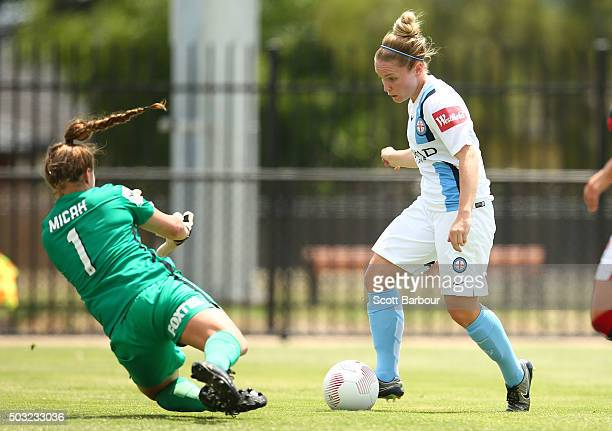Jessica Fishlock of City FC is fouled by goalkeeper Teagan Micah of the Wanderers which resulted in Kim Little of City FC scoring the second goal...