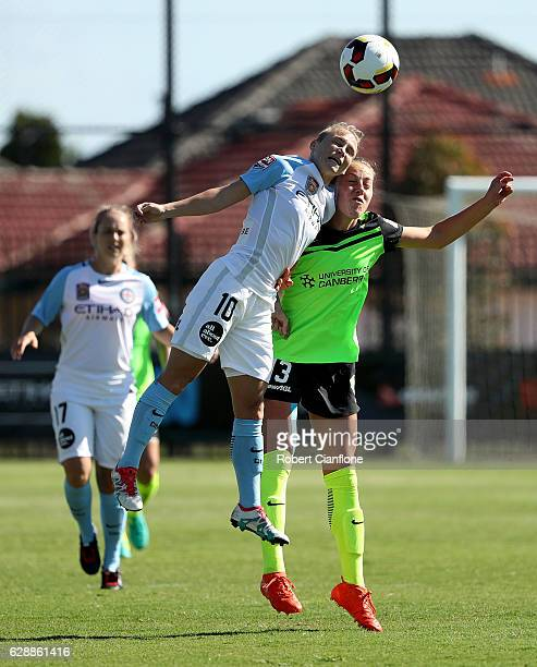 Jessica Fishlock of Melbourne City and Celeste Boureille of Canberra United compete for the ball during the round six WLeague match between Melbourne...
