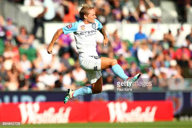 Jessica Fishlock of Melbourne City celebrates a goal during the 2017 WLeague Grand Final match between the Perth Glory and Melbourne City FC at nib...