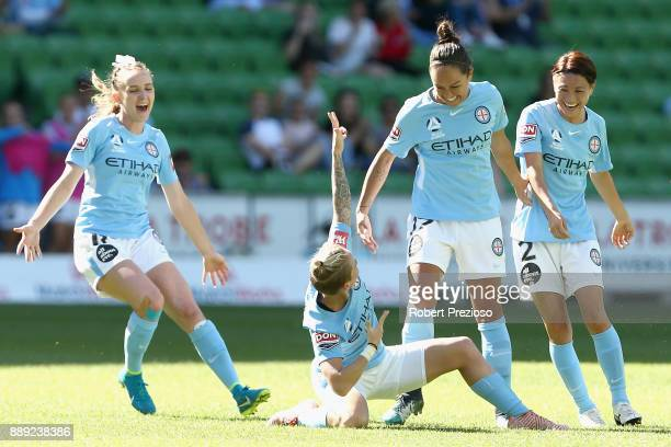 Jessica Fishlock of Melbourne City celebrates after scoring a goal during the round seven WLeague match between Melbourne City and Canberra United at...