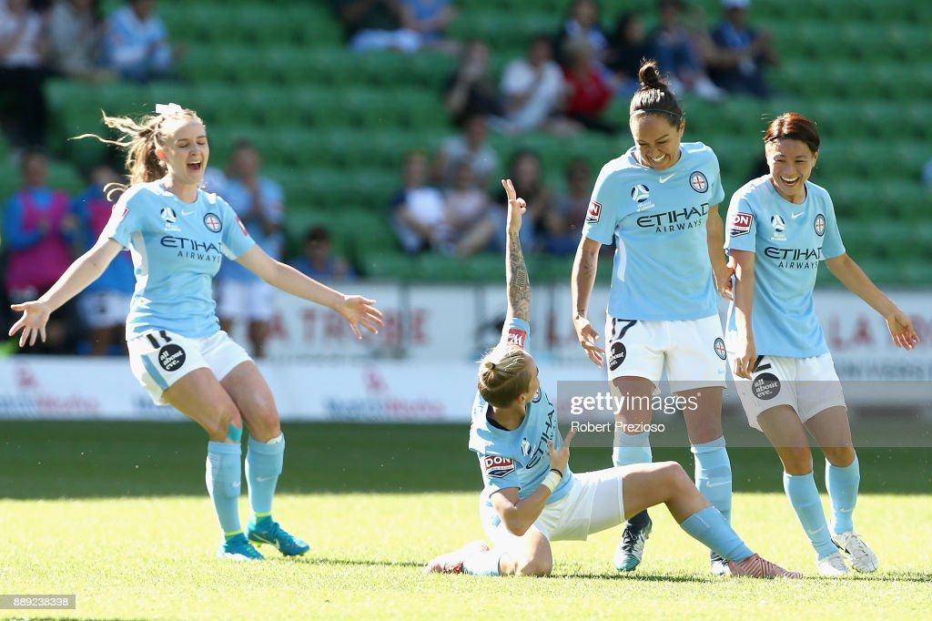 Jessica Fishlock of Melbourne City celebrates after scoring a goal during the round seven W-League match between Melbourne City and Canberra United at AAMI Park on December 10, 2017 in Melbourne, Australia.
