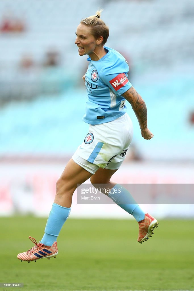 Jessica Fishlock of Melbourne City celebrates kicking a goal during the round nine W-League match between the Western Sydney Wanderers and Melbourne City at ANZ Stadium on January 1, 2018 in Sydney, Australia.
