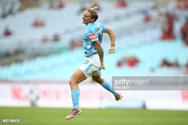 Jessica Fishlock of Melbourne City celebrates kicking a goal during the round nine WLeague match between the Western Sydney Wanderers and Melbourne...