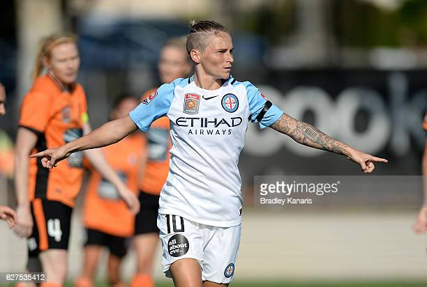 Jessica Fishlock of Melbourne City celebrates scoring a goal during the round five WLeague match between the Brisbane Roar and Melbourne City FC at...