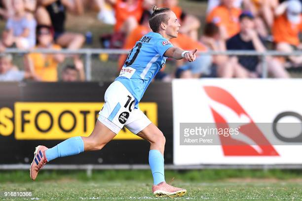 Jessica FIshlock of Melbourne City celebrates scoring a goal during the WLeague Semi Final match between the Brisbane Roar and Melbourne City at...