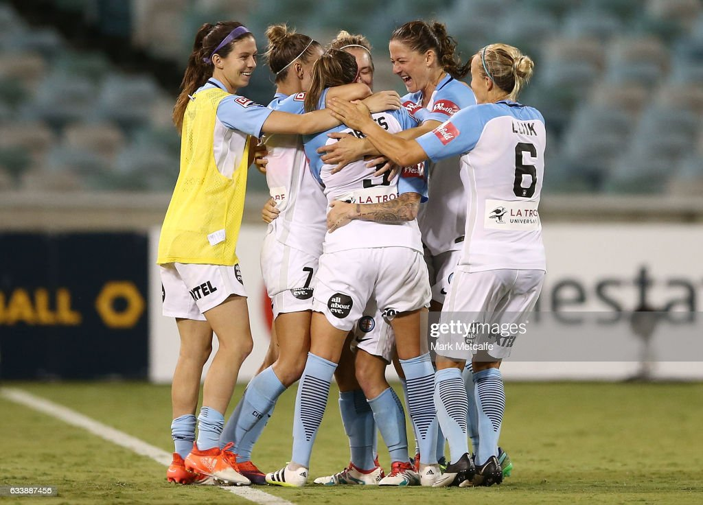 Jessica Fishlock of Melbourne City celebrates scoring a goal with team mates during the W-League Semi Final match between Canberra United and Melbourne City FC at GIO Stadium on February 5, 2017 in Canberra, Australia.