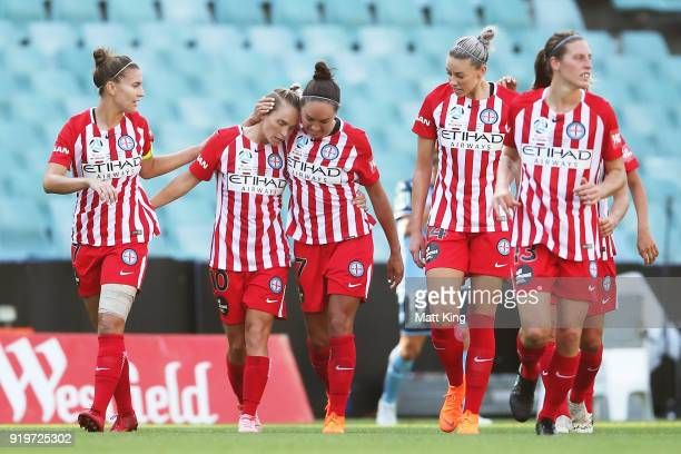 Jessica Fishlock of Melbourne City celebrates with team mates after scoring a goal during the WLeague Grand Final match between Sydney FC and...