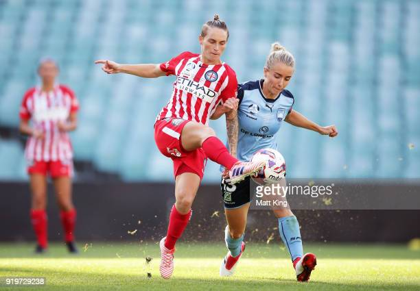Jessica Fishlock of Melbourne City competes for the ball against Georgia YeomanDale of Sydney FC during the WLeague Grand Final match between Sydney...