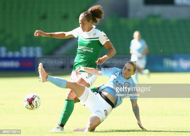 Jessica Fishlock of Melbourne City contests the ball during the round seven WLeague match between Melbourne City and Canberra United at AAMI Park on...