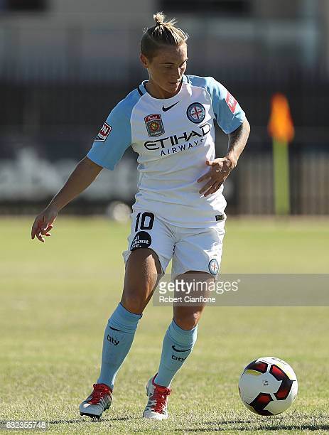 Jessica Fishlock of Melbourne City controls the ball during the round 13 WLeague match between Melbourne City and Brisbane Roar at CB Smith Reserve...