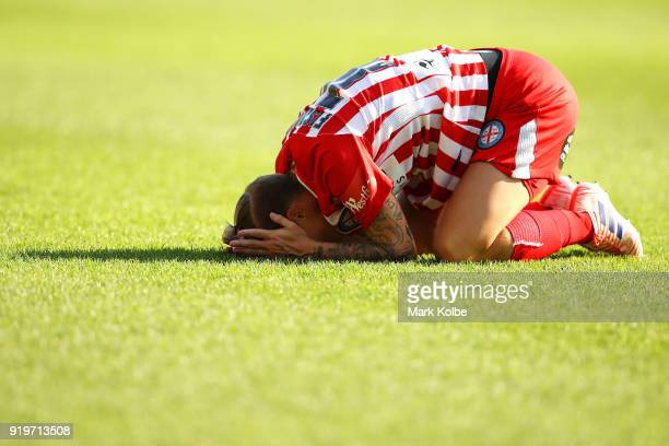 Jessica Fishlock of Melbourne City holds her head after a tackle during the WLeague Grand Final match betweenSydney FC and Melbourne City FC at...