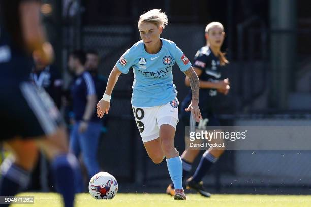 Jessica Fishlock of Melbourne City runs with the ball during the round 11 WLeague match between the Melbourne Victory and Melbourne City at Epping...