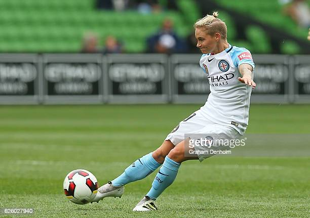 Jessica Fishlock of Melbourne City shoots at goal during the round four ALeague match between Melbourne City FC and Melbourne Victory at AAMI Park on...