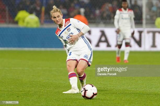 Jessica Fishlock of Olympique Lyonnais passes the ball during the Women's Division 1 match between Olympique Lyonnais and Paris St Germain at...