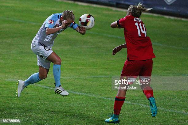 Jessica Fishlock of the City heads the ball for a strong goal chance in the dying stages but misses during the round 10 WLeague match between...