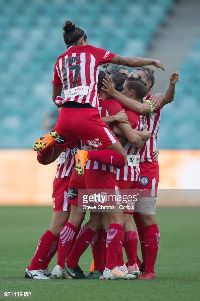 Jessica Fishlock of the Melbourne City celebrates kicking a goal during the WLeague Grand Final match between the Sydney FC and the Melbourne City at...